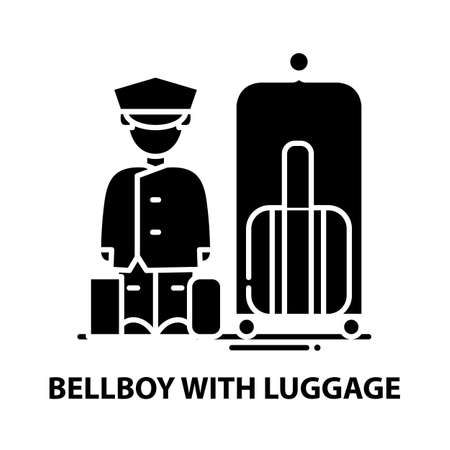 Illustration pour bellboy with luggage icon, black vector sign with editable strokes, concept illustration - image libre de droit