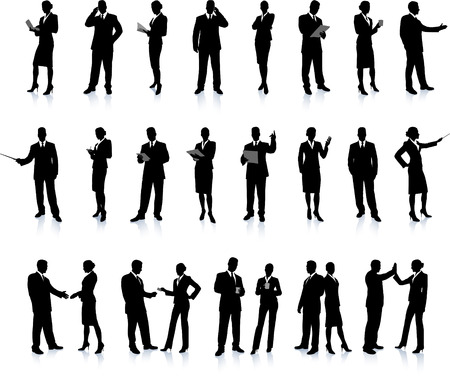 Business People Silhouette Super Set 26 unique high-detailed silhouettes featuring beautiful sexy models Each Silhouette is grouped File is AI 8 compatible and easy to manage