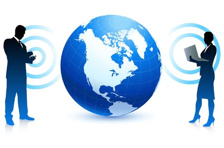 Photo for Modern business communication internet background with globe - Royalty Free Image