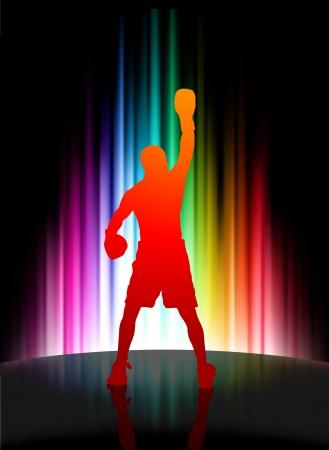 Championship Boxer on Abstract Spectrum BackgroundOriginal Illustration