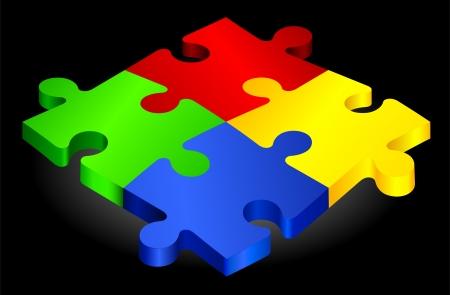 Complete Puzzle on simple BackgroundOriginal Vector IllustrationComplete Puzzle