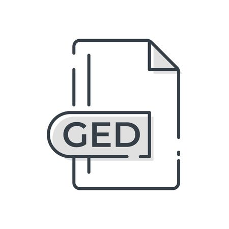 GED Icon. GED File Format extension line icon.