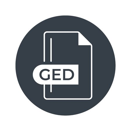 GED Icon. GED File Format extension filled icon.