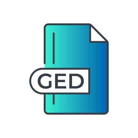 GED Icon. GED File Format extension gradiant icon.