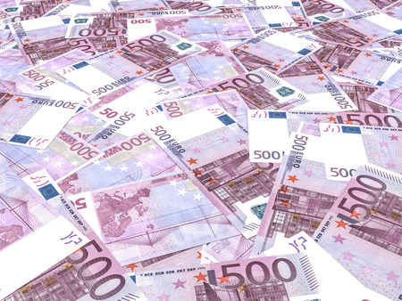 Five hundred euro banknotes background