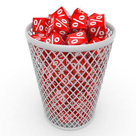 Red discount cubes in basket. 3D illustration.
