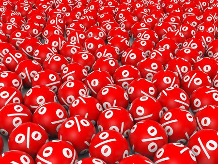Red discount balls. 3D illustration.