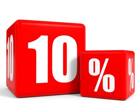 Red sale cubes. Ten percent discount. 3D illustration.