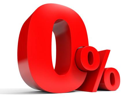 Red zero percent off. Discount 1%. 3D illustration.