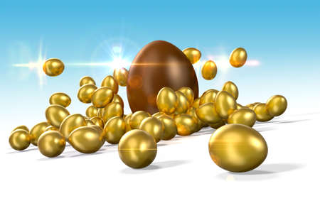 Small golden eggs with a large chocolate Easter egg