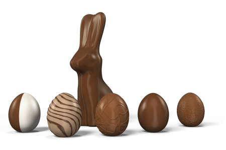 Easter eggs with Easter bunny made of chocolate