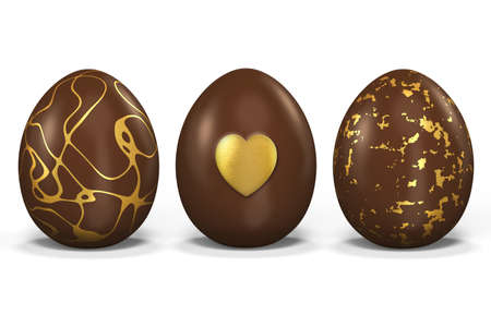 3 Easter eggs made of chocolate