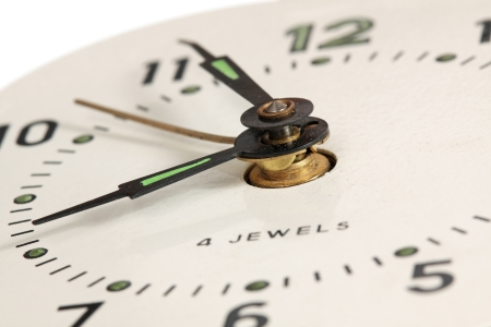 Dial of old clocks, close up, small depth of sharpness