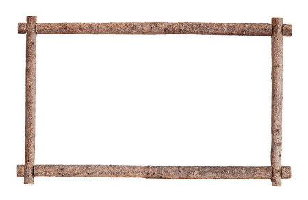 The frame for the picture made from rough pine logs, isolated on white background
