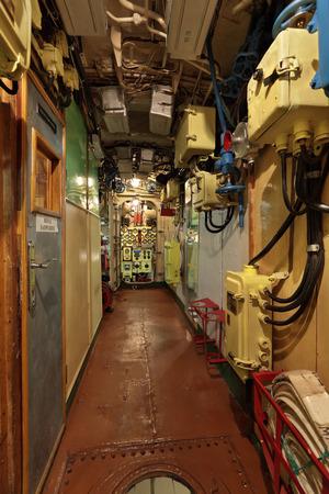The narrow corridor of the old submarine