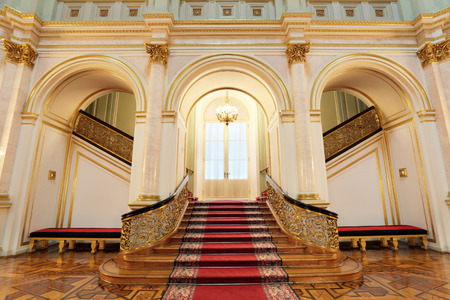 Russia, Moscow, Grand Kremlin Palace - historical old building built from 1837 to 1849, at the present time the ceremonial residence of the President of Russia. Small Georgievsky hall, stairs