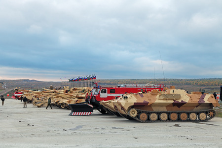 NIZHNY TAGIL, RUSSIA - SEP 25, 2013: The international exhibition of armament, military equipment and ammunition RUSSIA ARMS EXPO (RAE-2013)