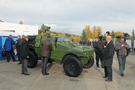 NIZHNY TAGIL, RUSSIA - SEP 26, 2013: The international exhibition of armament, military equipment and ammunition RUSSIA ARMS EXPO (RAE-2013). Light armoured vehicle ASTAIS-VBL produced by the French company Panhard General Defense