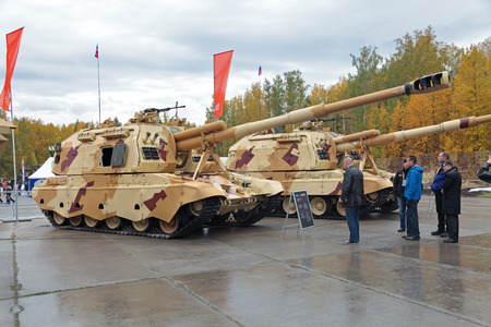 NIZHNY TAGIL, RUSSIA - SEP 26, 2013: The international exhibition of armament, military equipment and ammunition RUSSIA ARMS EXPO (RAE-2013). Russian heavy self-propelled 152 mm howitzer 2S19 Msta-S