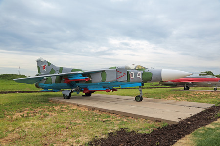 KUBINKA, MOSCOW OBLAST, RUSSIA - JUN 19, 2015: The Mikoyan-Gurevich MiG-23 (NATO reporting name: Flogger) is a variable-geometry retro supersonic fighter aircraft at the International military-technical forum ARMY-2015 at the Kubinka air base
