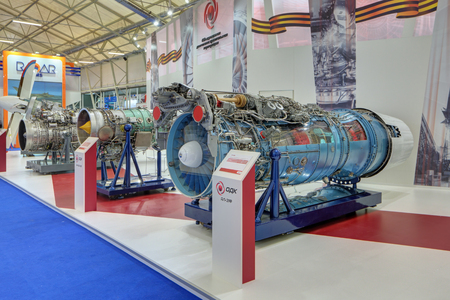 Photo pour KUBINKA, MOSCOW OBLAST, RUSSIA - JUN 16, 2015: The turbojet engine production United engine Corporation at the International military-technical forum ARMY-2015 in military-Patriotic park - image libre de droit