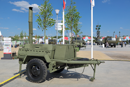 KUBINKA, MOSCOW OBLAST, RUSSIA - JUN 18, 2015: Military field kitchen at the International military-technical forum ARMY-2015 in military-Patriotic park