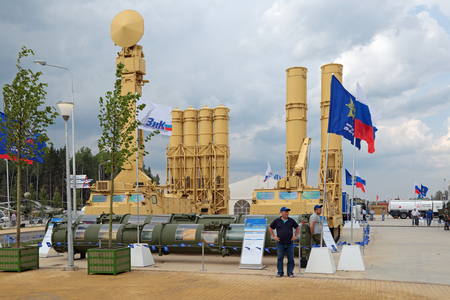 KUBINKA, MOSCOW OBLAST, RUSSIA - JUN 15, 2015: The S-300VM Antey-2500 (SA-23 Gladiator\Giant) is a Russian air defense system with anti ballistic missiles of short and medium range at the International military-technical forum ARMY-2015 in military-Patr