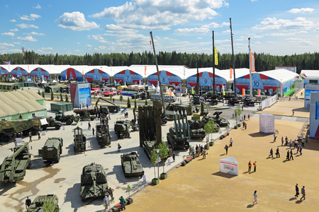 KUBINKA, MOSCOW OBLAST, RUSSIA - JUN 17, 2015: International military-technical forum ARMY-2015 in military-Patriotic park. Top view, panorama
