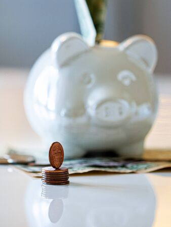 Photo pour Personal finances, close-up of a piggy bank with american dollars - wealth and financial concept. White piggy bank in the foreground. - image libre de droit