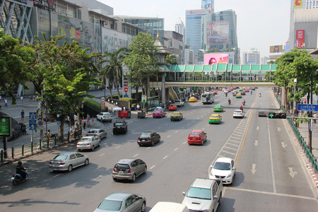 Bangkok Thailand  April 16 2015: Located on Ratchadamri Road Central World is the sixth largest shopping complex in the world. It consists of shopping plaza a hotel and office tower.