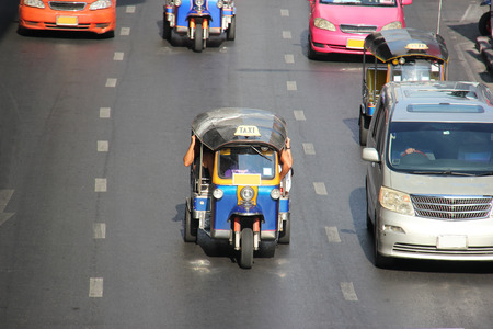 The auto rickshaw known as tuktuk is a widely used form of urban transportation in Bangkok and other Thai cities. It is one of symbols of Thailand.