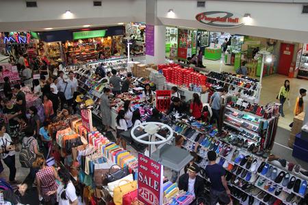 Bangkok Thailand  April 16 2015: Customers are choosing products on sales at a shopping center in Bangkok.