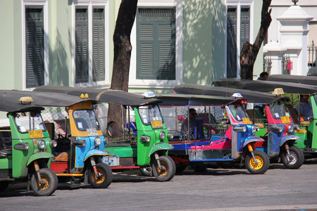 Bangkok Thailand  April 21 2015: The auto rickshaw known as tuktuk is a widely used form of urban transportation in Bangkok and other Thai cities. It is one of symbols of Thailand.