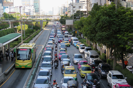 Bangkok Thailand  April 28 2015: The Bangkok BRT is a bus rapid transit system in Bangkok. As it runs on dedicated bus lane in the center of the road it blocks the traffic and is criticized that it has worsened the traffic in the area.