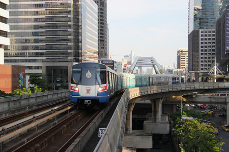 Bangkok Thailand  April 28 2015: The Bangkok Mass Transit System  known as BTS or Skytrain is an elevated rapid transit system in Bangkok. The system consists of 34 stations along two lines.