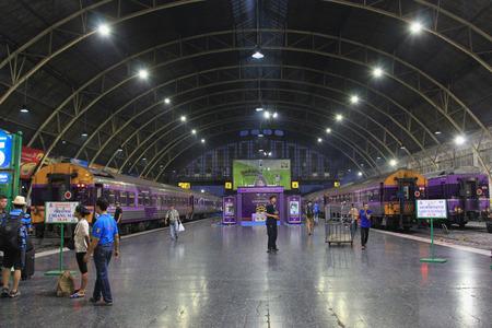 Bangkok, Thailand - May 8, 2015: Bangkok Railway Station or Hua Lamphong Station is the main railway station in Bangkok, Thailand. It serves over 130 trains and approximately 60,000 passengers each day.