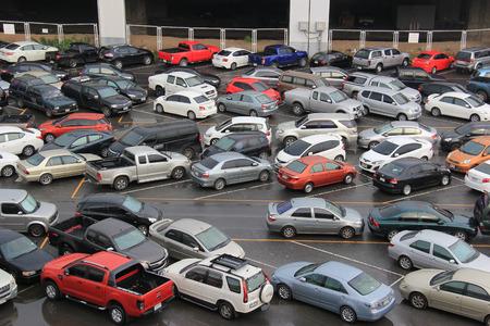 Bangkok, Thailand - May 9, 2015: Many vehicles are parking at a facility in Chatuchak district, Bangkok, Thailand.