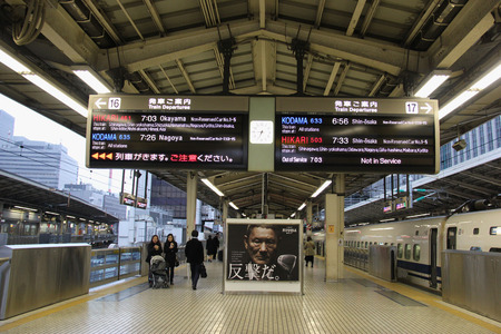 Tokyo, Japan - April 7, 2015: Passengers are waiting for Shinkansen Trains, high speed railway lines in Japan operated by four Japan Railways Group companies.