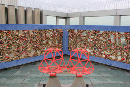 Osaka, Japan - April 8, 2015: Heart-Shaped Deck for couples to enjoy the view and seal their love at the Floating Garden Observatory of Umeda Sky Building, one of the city's most recognizable landmarks in Osaka, Japan.