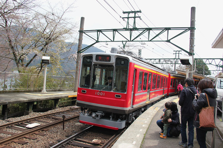 Hakone, Japan - Hakone Tozan Railway, serving from Hakone-Yumoto to Gora Station, is Japan's oldest mountain railway. It runs through a narrow, densely wooded valley over bridges and tunnels.
