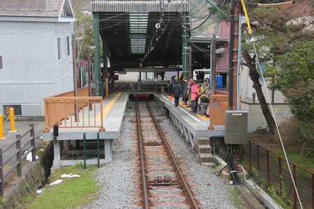 Hakone, Japan - April 9, 2015: Gora Station for Hakone Tozan Cable Car, a funicular railway racing effortlessly up the steep slope in Hakone.