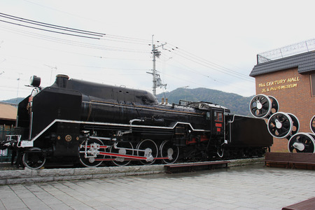 Kyoto, Japan - April 11, 2015: Ancient Locomotive is shown at Torokko Saga Station, where tourists can get on Sagano Scenic Railway to enjoy the natural beauty of western Kyoto.