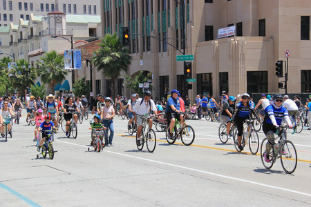 Pasadena, California, USA - May 31, 2015: CicLAvia is an event held in Los Angeles where streets are closed to motor vehicles and open for the public to walk, bike and skate through open streets.