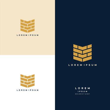 Illustration for Modern Flat Brick logo, Brick Work simple modern logo template - Royalty Free Image