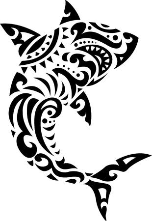 Illustration pour Shark tribal tattoo  - image libre de droit