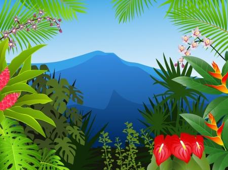 Illustration pour Tropical forest background  - image libre de droit