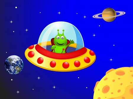 illustration of Alien in the space ship