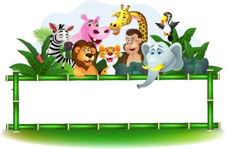 Illustration pour Illustration Of Animal Cartoon with blank sign - image libre de droit