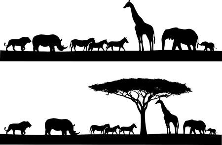 Ilustración de Safari animal silhouette - Imagen libre de derechos