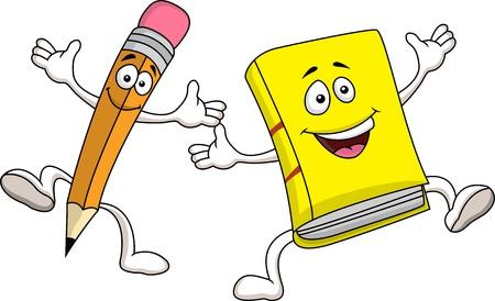 Illustration pour Pencil and book cartoon character - image libre de droit